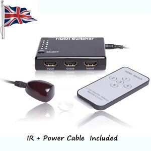 5 Port HDMI Switch Splitter 1080P Switcher Hub for HDTV DVD PS3 + IR Remote
