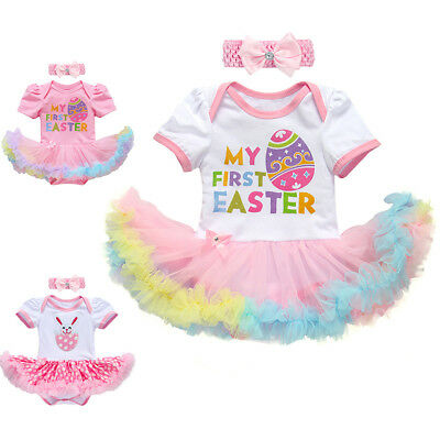 Girl Infant Costume (Baby Girl My 1st First Easter Bunny Egg Romper Tutu Dress Costume Outfit)