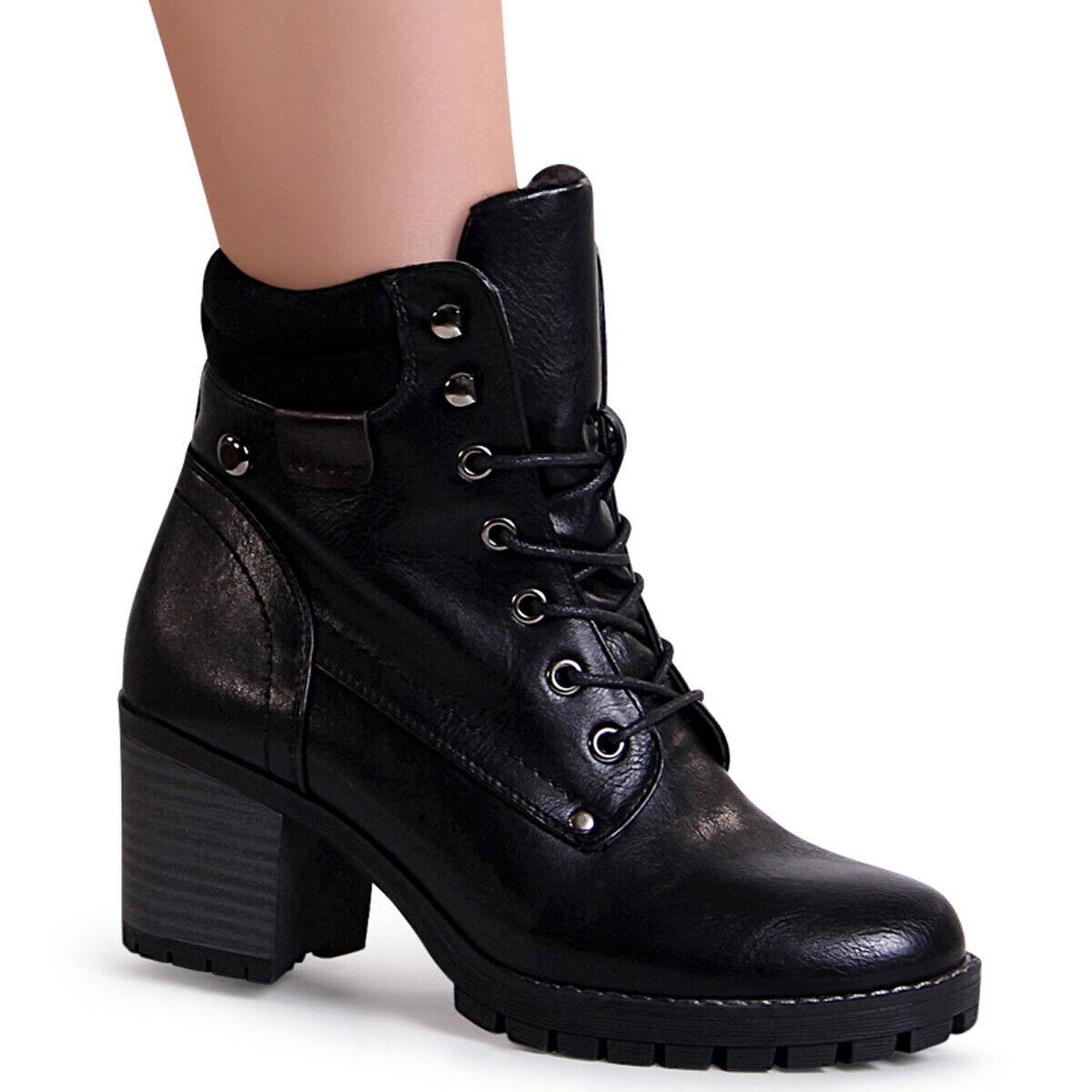Damen Stiefeletten Schnür Stiefel Plateau Ankle Boots Booties Schnürschuhe