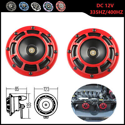 Red Electric Compact Car Horn Super Loud Blast Tone Grill Mount 12V 335HZ/400HZ for sale  Dayton
