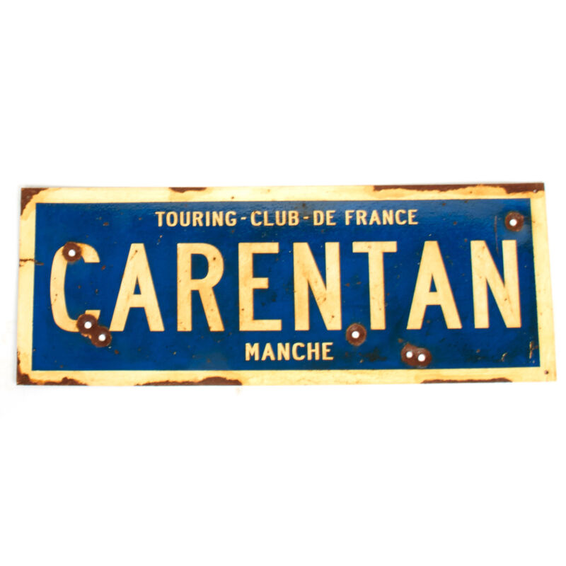 """WWII Aged Steel Sign - Carentan  (33"""" x 12"""")"""