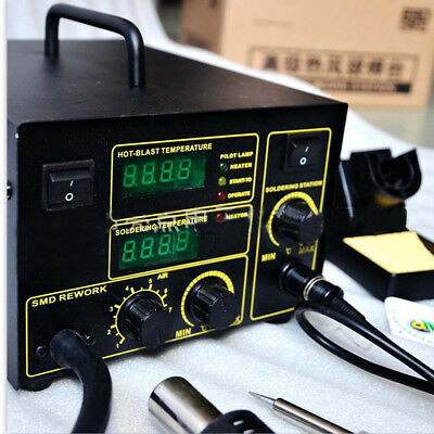2in1 Soldering Iron Rework Station Hot Air Gun Desoldering Welder 953 750w