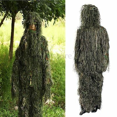 4PCS 3D Military Hunting Camo Tactical Camouflage Clothing Ghillie Suit XL / XXL