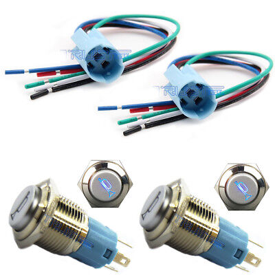 2x 16mm Socket Plug 2x Led Momentary Horn Button Metal Switch Push Button Blue