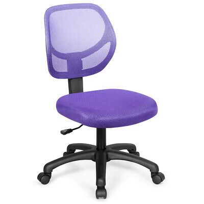 Mesh Office Chair Low-back Armless Computer Desk Chair Adjustable Height Purple