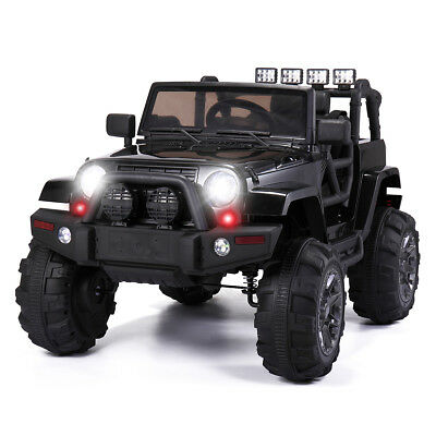 12V Kids Ride On Car  Jeep Racing Battery Power  Electric Music Light Black