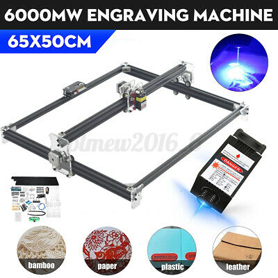 6000mw Laser Engraving Machine 2-axis Desktop Wood Cutter Printer 65x50cm New