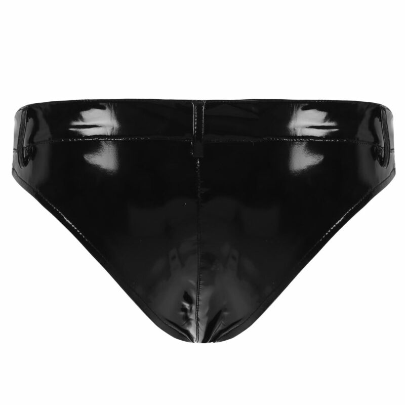Mens Patent Leather Crotchless C-string Bikini Briefs Underwear Thong Panties