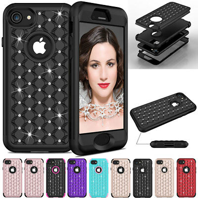 For iPhone 8 / Plus Hybrid Dual Layer Shockproof Diamond Bling Hard Case Cover](Plastic Bling)