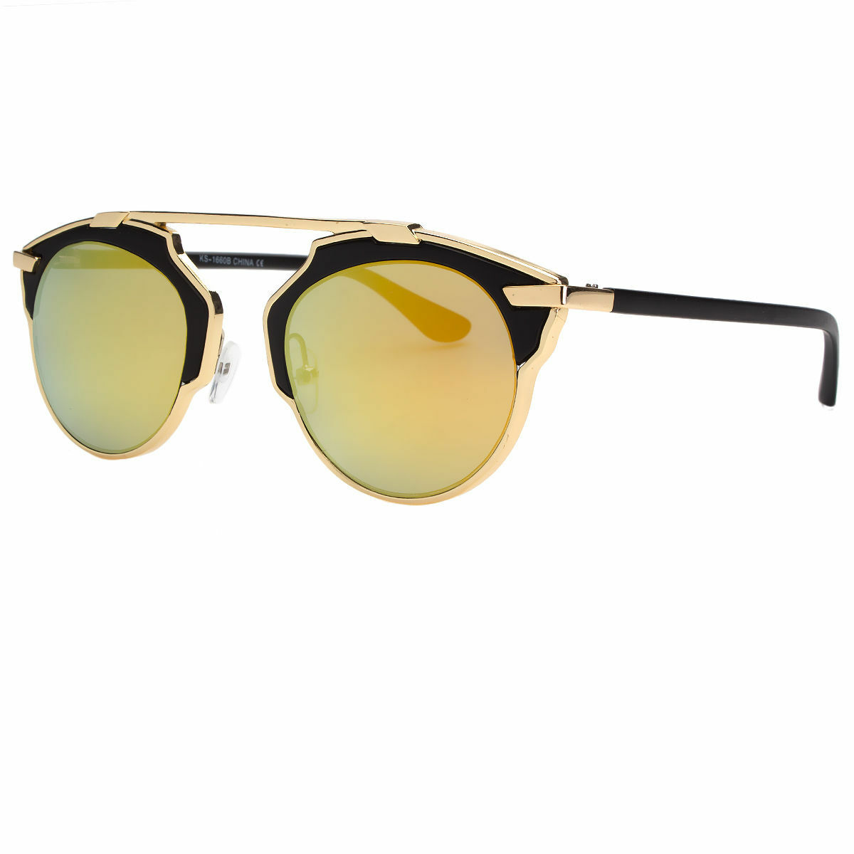 Cat Eye Women Fashion Sunglasses Gold Metal Rim Mirrored Lens Blue Black Pink
