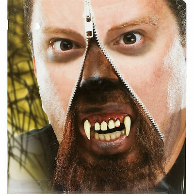 Horror Zipper Face Werewolf Deluxe Makeup FX Kit Halloween Costume Accessory - Face Zipper Halloween Costume