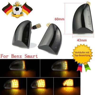 Für Smart W451 LED Seitenblinker Dynamisch Blinker Klarglas Schwarz Mercedes Set
