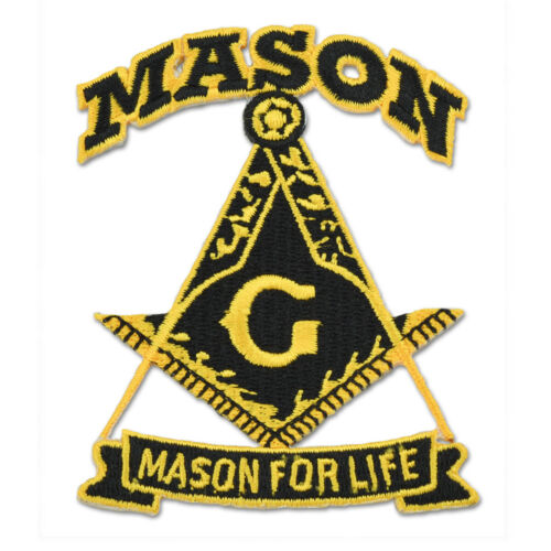 Mason For Life Square & Compass Embroidered Masonic Patch