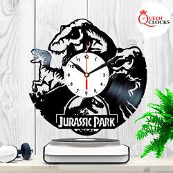 Jurassic Park Logo Dinosaurs Vinyl Record Wall Clock Art Home Decor Kids Gift