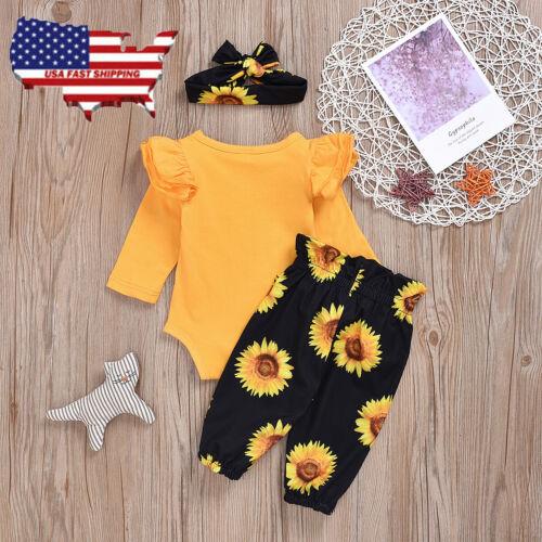 Newborn Kid Baby Girl 3Pcs Clothes Jumpsuit Romper Bodysuit Pants Hat Outfits