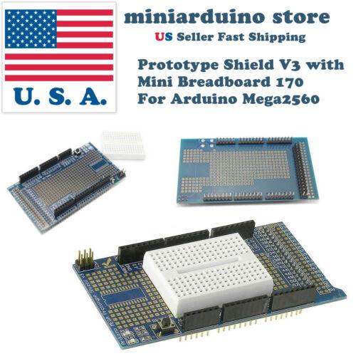 Arduino MEGA2560 Prototype Shield ProtoShield V3 with 170 pin mini breadboard