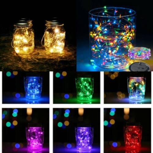 1/2M 20 LED Fairy Light Garden Girl Party Mason Jar Lid Sola