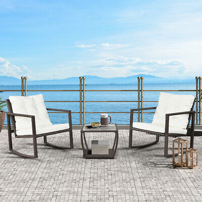 3 PCS Outdoor Patio Wicker Rocking Arm Chair Porch Deck Coffee Table W/ Cushions Arms Outdoor Benches