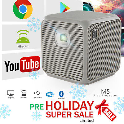 XPRIT Portable Smart Cube Projector Wi-Fi & Bluetooth, 50 ANSI, Android 7.1