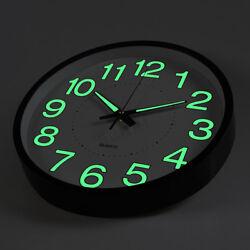 12'' Glow Dark Wall Clock Silent Quartz Noctilucent Wall Classic Night Clocks