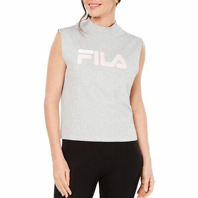 FILA NEW Women's Gray Helena Mock Neck Logo Tee Casual Shirt Top L TEDO