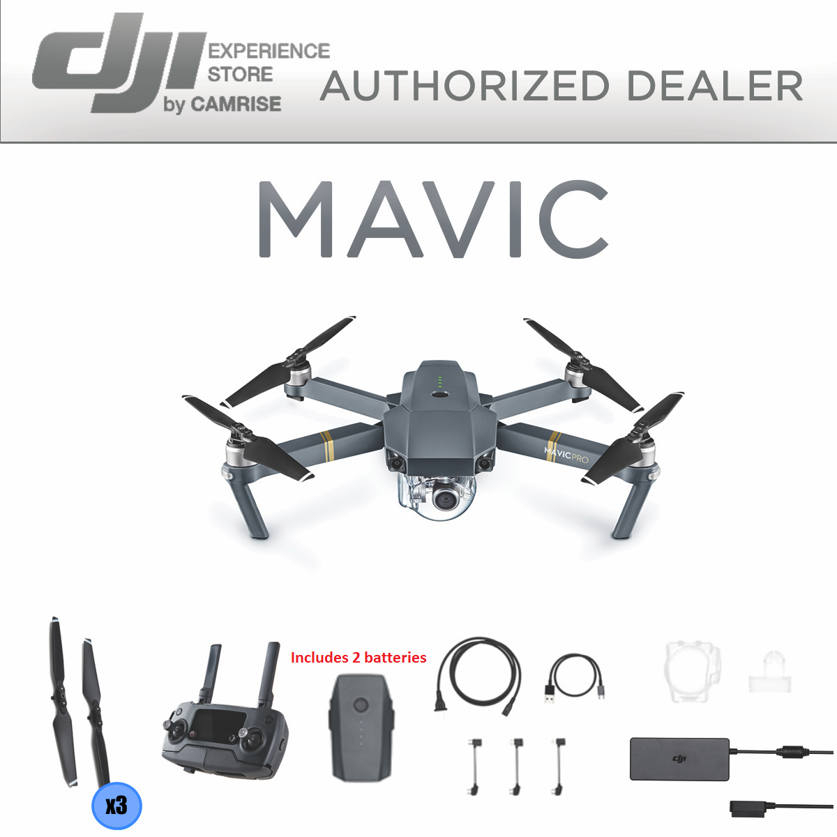 DJI Mavic Pro Drone  4K Stabilized Camera includes 2 batteries, New!