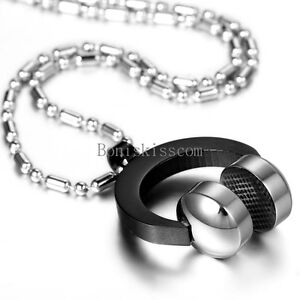 Mens Black Silver Stainless Steel DJ Headphone Pendant Music Necklace Chain