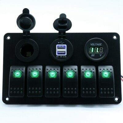 6-gang Waterproof Circuit Switch Panel Car Marine 12-24v Usb Charger Voltmeter