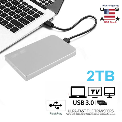 "2TB USB 3.0 Portable 2.5"" External Hard Drive Disk Ultra Sli"