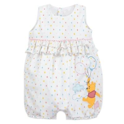 DISNEY STORE WINNIE THE POOH BUBBLE ROMPER FOR BABY WITH POM POM & RUFFLE TRIM