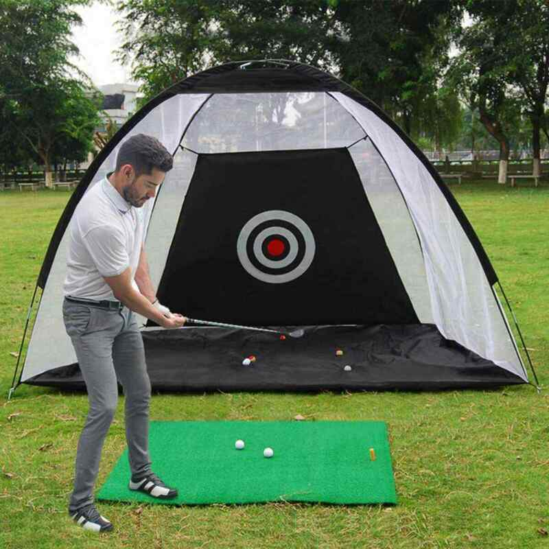2M Foldable Golf Practice Net Cage Driving Hitting Training Aid Outdoor Indoor