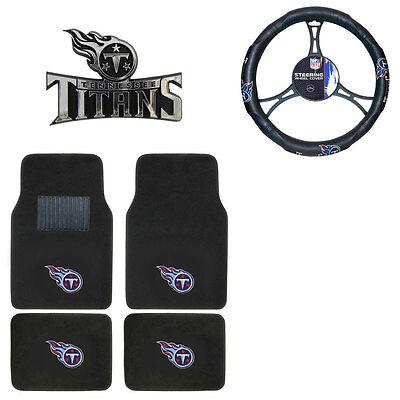 New NFL Tennessee Titans Car Truck Floor Mats Steering Wheel Cover & Emblem