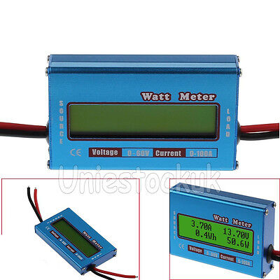 Digital Lcd Watt Meter 60v100a Power Amp Analyzer Dc Ammeter Monitor Rc Battery