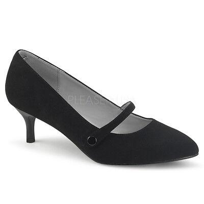 Black Flapper Shoes (Black Suede Low Kitten Heels Vintage 1920s Flapper Girl Shoes size 12 13 14)