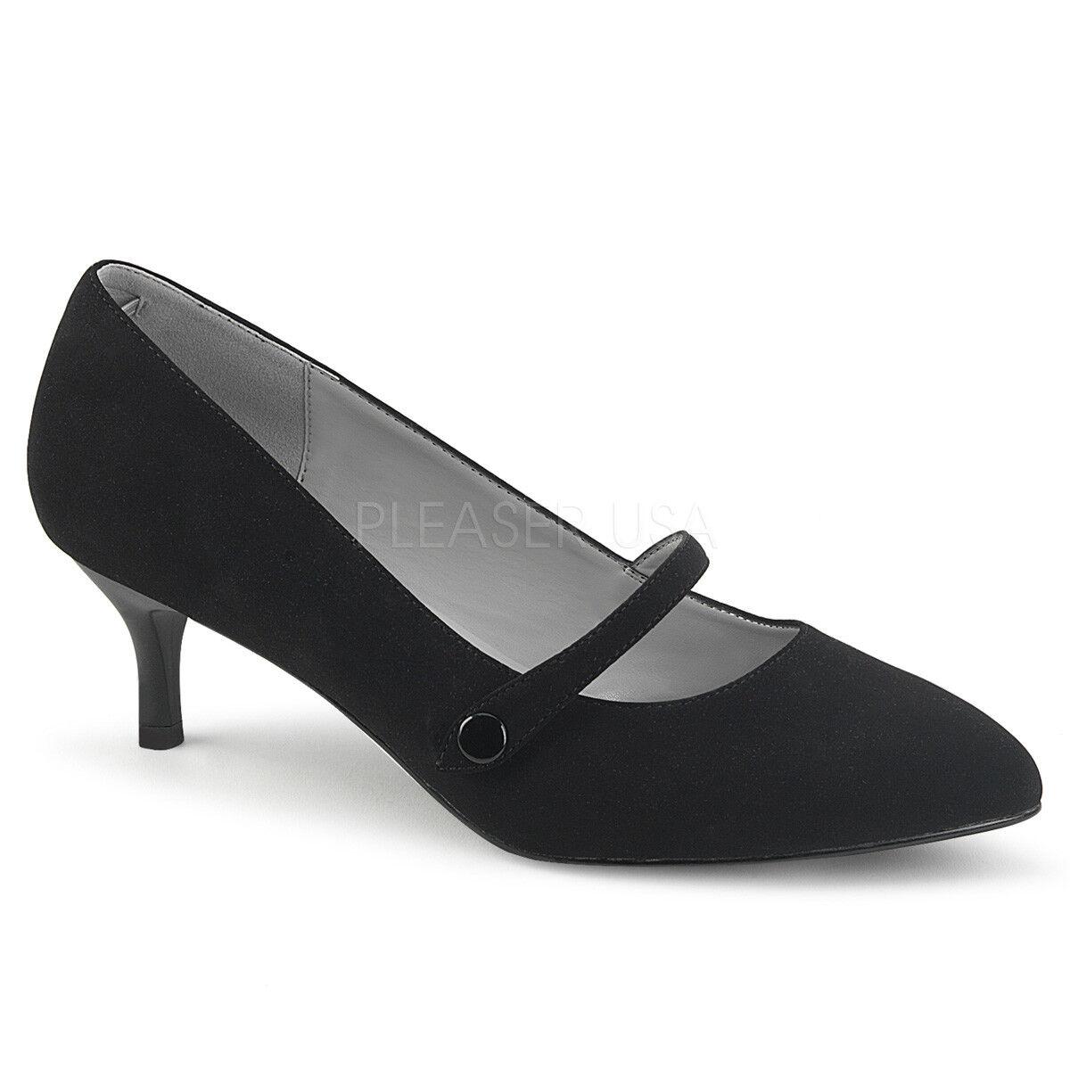 Black Suede Low Kitten Heels Vintage 1920s Flapper Girl Shoes size 12 13 14 15