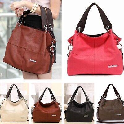 UK Women Faux Leather Lady Soft Hobo Handbag Tote Shoulder Bag Leisure School