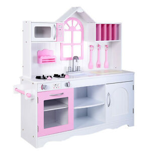 Goplus Kids Wood Kitchen Toy Cooking Pretend Play Set Toddler Wooden  Playset New