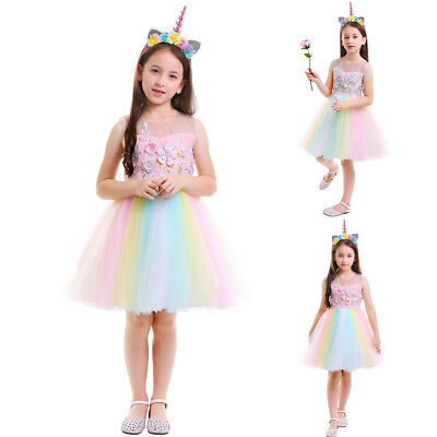 Rainbow Dresses For Toddlers (Flower Girls Rainbow Dress with Unicorn Headband Outfits for Kid Birthday)