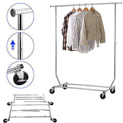 Garment Rack Collapsible Commercial Grade Heavy Duty Clothing on Rolling