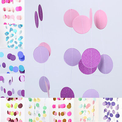Round Circle Paper Garland Glitter Dots String Banner Party Wedding DIY Decor