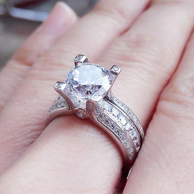 Engagement Wedding Rings 14k White Gold Fn 2.90 Ct Round Dia