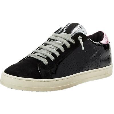 P448 Womens John Black Low Top Fashion Sneakers Shoes 39 Medium (B,M) BHFO 4991