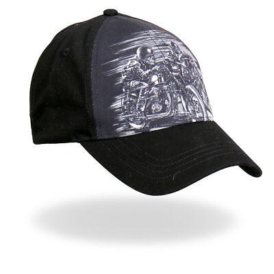 Rider Ball Cap - Skull Riders Motorcycle Skeletons Riding Fast Black Grey Gray Biker Ball Cap