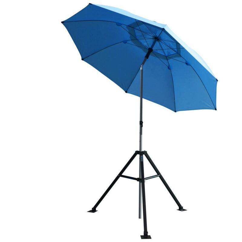 Revco Black Stallion UB250-BLU Core Flame-Resistant Industrial Umbrella & Stand,