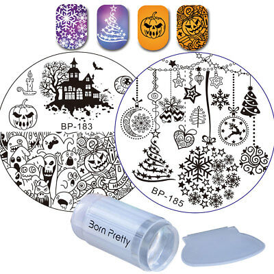 3pcs Christmas Xmas Metal Nail Art Stamping Plates Kit with Stamper