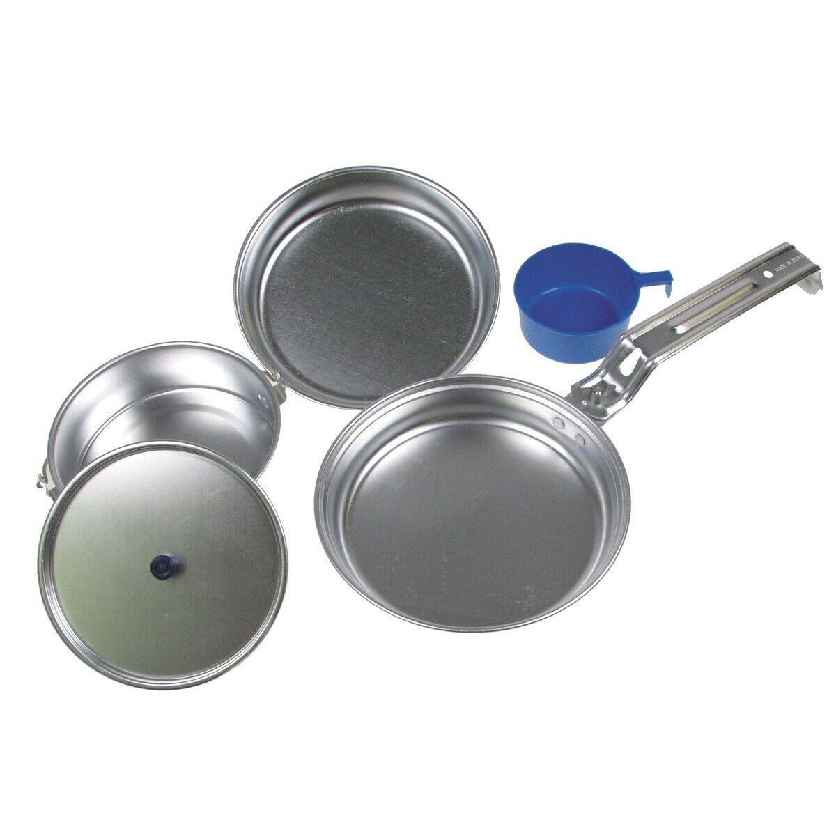 MFH Kit di stoviglie pentola padella tazza in alluminio campeggio Deluxe