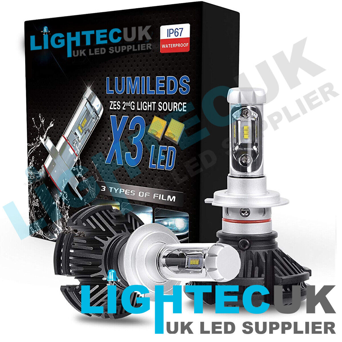 Lampadine H7 Led Philips.H7 Fanless 50w 12000lm Lumileds Zes Led Headlight Bulbs Xenon Conversion Kit Uk