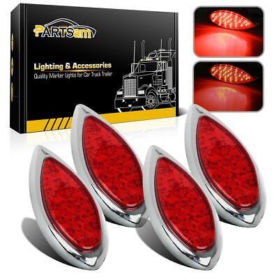 4x Motorcycle 35 LED Red Chrome Tear Drop Stop Turn Tail indicator brake Lights