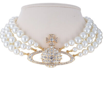 Vivienne Westwood Golden Saturn Three-Layer Pearl Necklace With Packing
