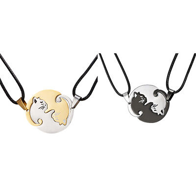 2PCS Yin and Yang Cat Necklace Couples Best Friend Puzzle Christmas Lover Gift ()